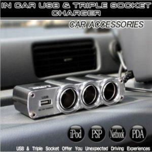 12V 3 Way Cigarette Lighter Socket & USB Charger Port