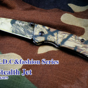 """Steel: 7Cr17MoV Handle: 7Cr17MoV Coating: Stripe camo Length: Overall: 6""""(152mm), Blade: 2.6""""(67mm) Lock Style: Liner lock Hardness: HRC 58 Weight: 2.3oz (66g)"""