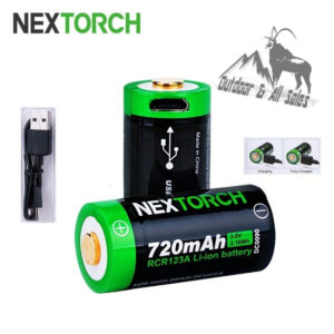 Nextorch 720mAh RCR123A USB Rechargeable Li-ion Battery - 2 Pack