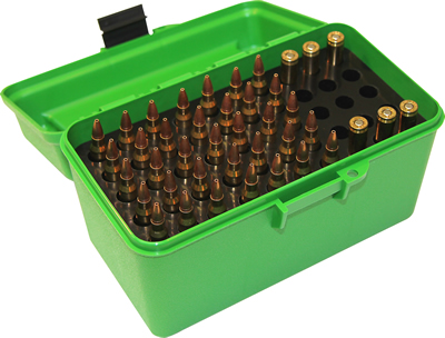 MTM H50-R-MAG Deluxe Rifle Ammo Box 300 Win Mag 30-30 375 H&H 7mm Rem Mag Green (50)